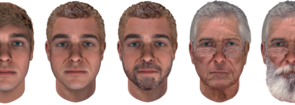 Examples of age progression and accessorization with Snapshot Forensic Art Services. By default, Snapshot produces composites from DNA at 25 years of age (A). Composite (A) shown after age progression to 50 years (B); with the addition of a light beard (C); after further age progression to 75 years with reading glasses (D); and with a full beard (E).