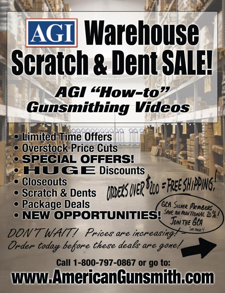American Gunsmithing Institute (AGI) Announces Scratch & Dent Warehouse Clearance Sale
