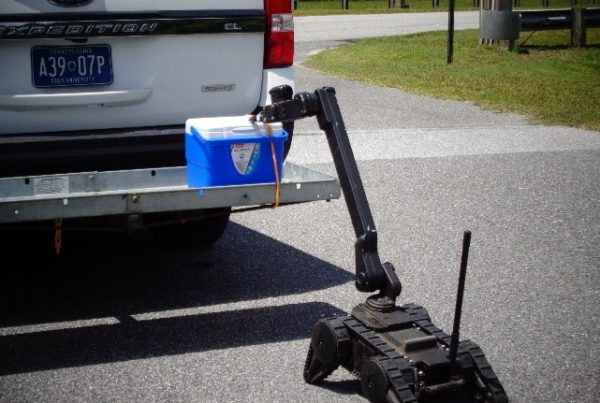 TraceX Explosives Detection Kit being used on unmanned vehicle during the U.S. Army's Thunderstorm Exercise