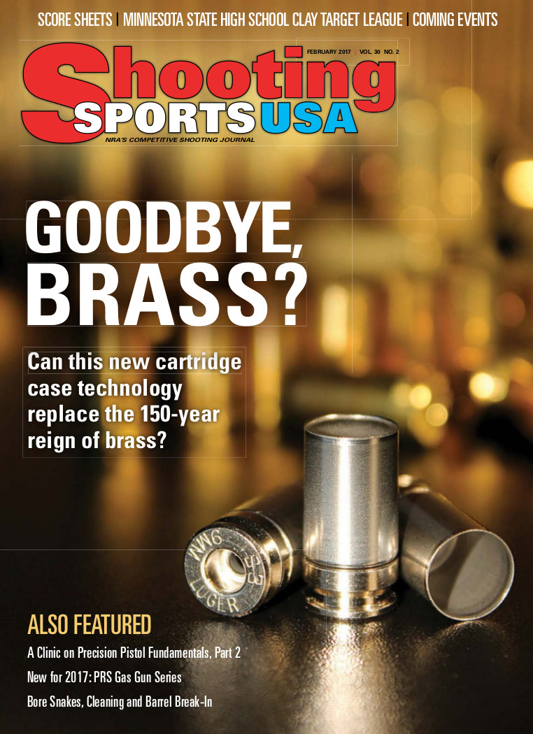 "Shooting Sports USA asks, ""Goodbye Brass?""  in Cover Article about Shell Shock's NAS3 Casings"