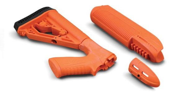 Adaptive Tactical's 'Less Lethal Orange' EX Performance Forend and Adjustable Stock for the Remington 870