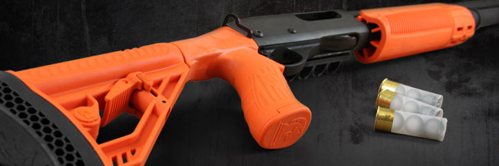 Adaptive Tactical 'Less Lethal Orange' EX Performance Forend and Adjustable Stock for the Remington 870