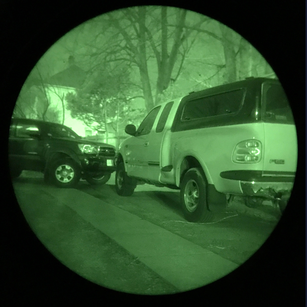 "Truck as seen through traditional Night Vision Gear, result is ""green glow."""