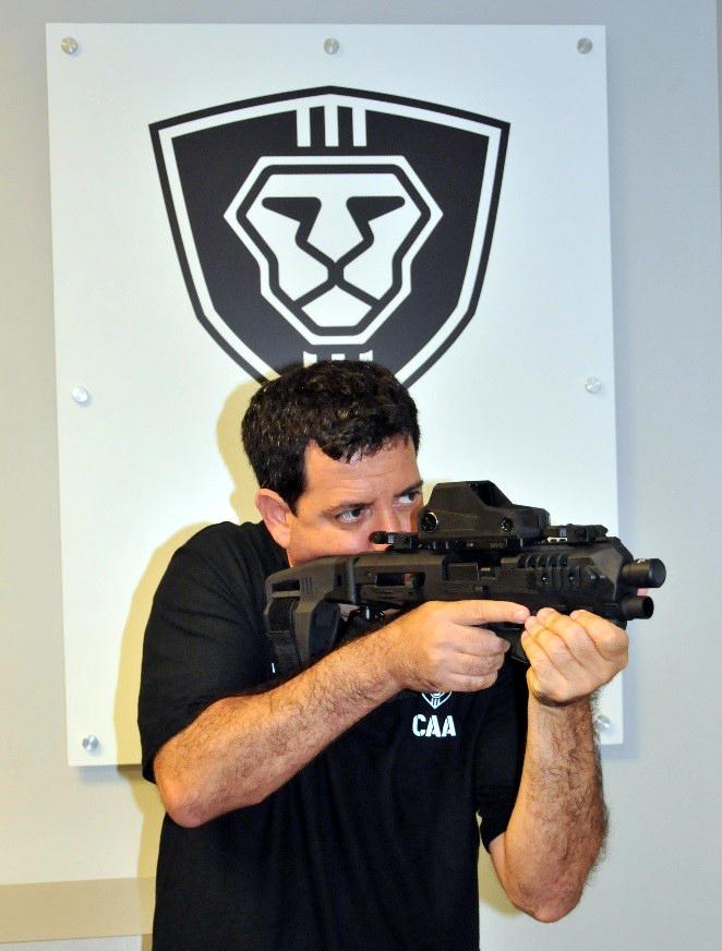 CAA CEO, Lt. Col. (IDF Ret.) Mikey Hartman shouldering a Micro RONI STAB conversion kit.