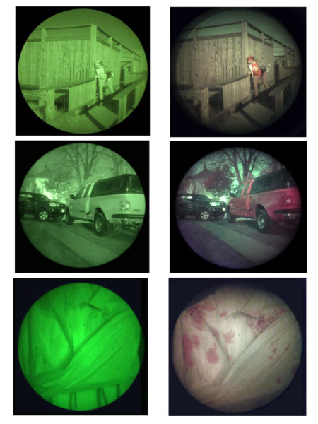 "Standard ""Green"" color night vision vs. ColorTAC color images"