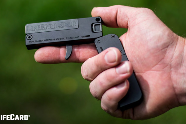 Trailblazer Firearms' LifeCard, a .22LR single-shot, single-action pistol.