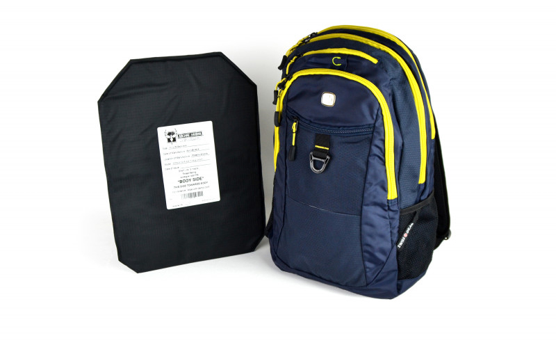 Ammunition Depot SwissGear Travel Backpack with Rimelig IIIA Soft Armor in Noir.