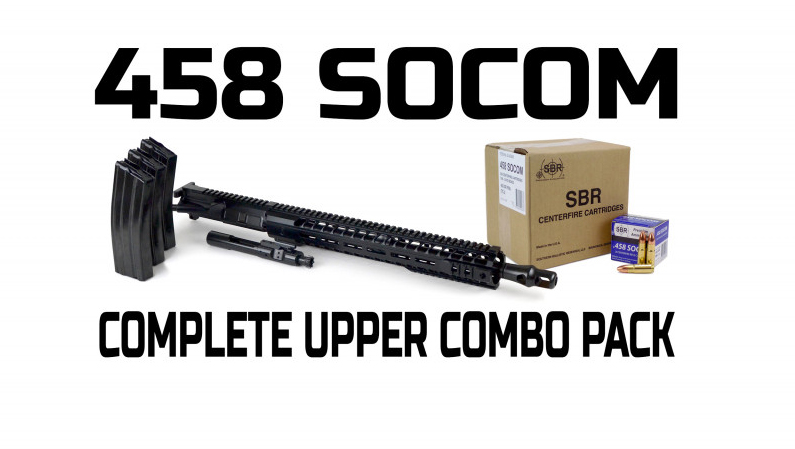 "RF Complete 16"" upper Combo Pack in .458 SOCOM with three magazines and 10 boxes of ammo."
