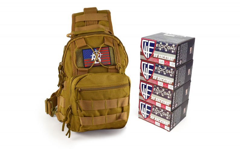 Ammunition Depot Tactical Sling Pack with 100 rounds of 12-gauge shotshells.