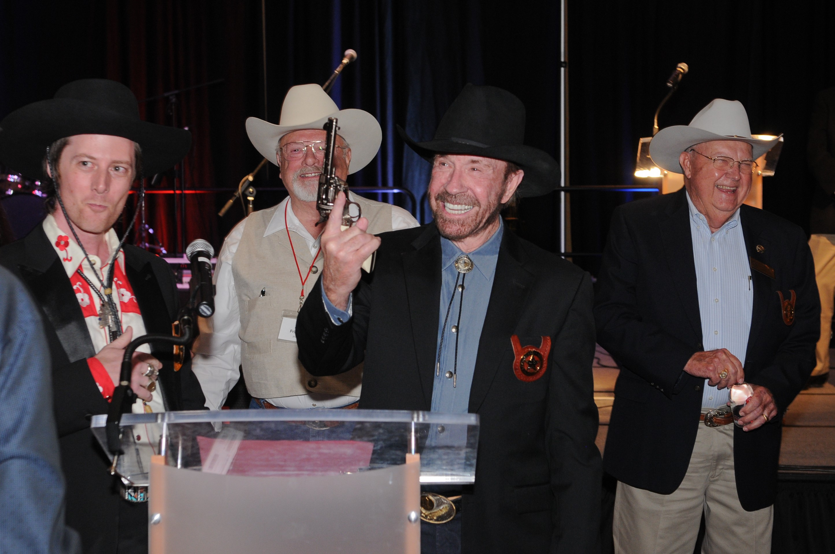 Cimarron Firearms and Pietta Firearms Present Chuck Norris with Special Frontier Revolver at Former Texas Rangers Foundation Gala