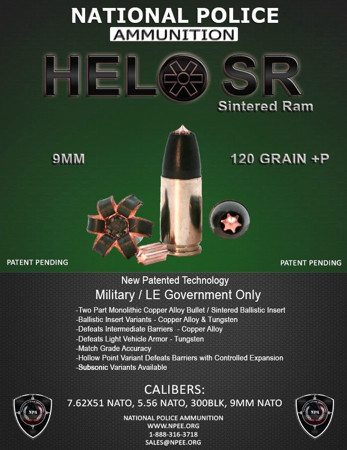 National Police Ammunition Introduces its New Patent Pending HELO SR 9mm Cartridge with Fluted Insert