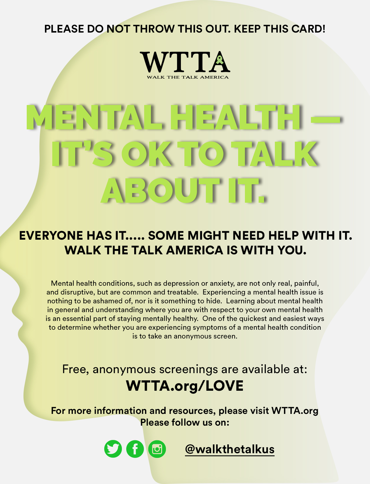 Walk the Talk America Partners with Eagle Imports to Promote Mental Health Awareness with Conscientious Flyer
