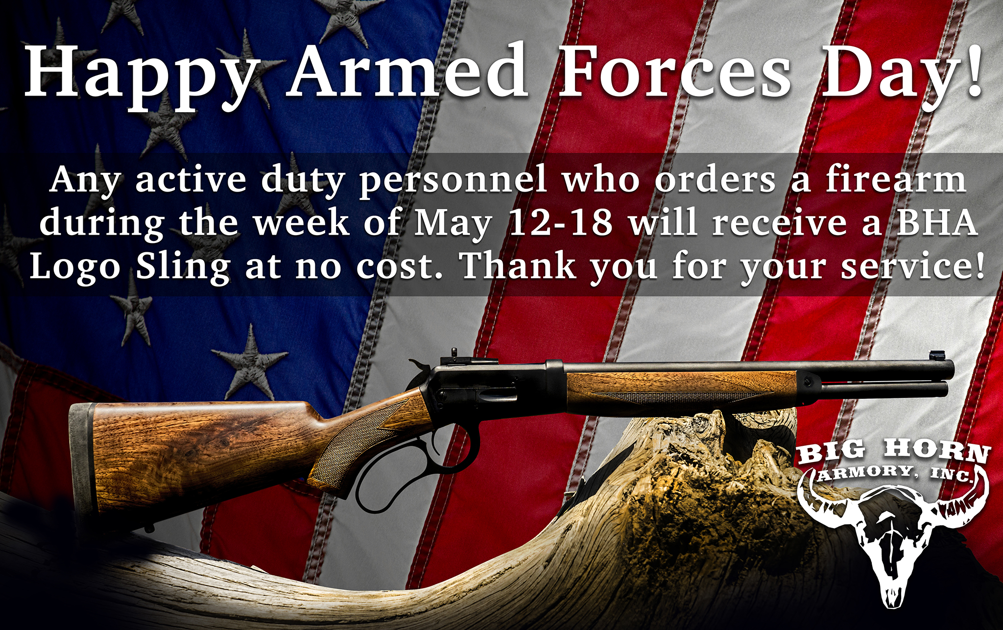 Big Horn Armory Honors Active Duty Military Members with Special Offer in Honor of Armed Forces Day