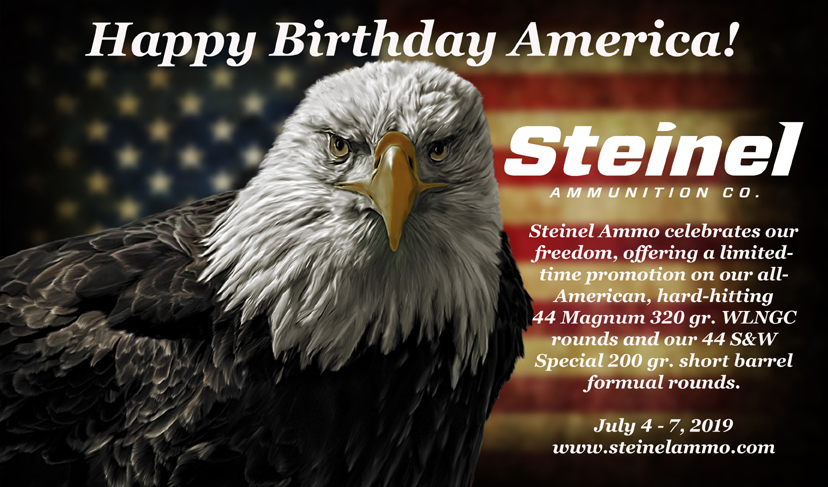 Steinel Ammunition Fourth of July Promo on 44 Magnum 320 gr. WLNGC and 44 S&W Special Self Defense Ammo